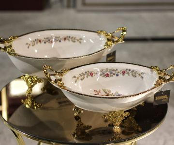 Porcelain real gold presentation Plates