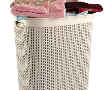 PLASTIC LAUNDRY BASKET WITH KNIT DESIGN